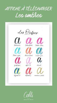Affiche à télécharger : les ombres en brushlettering - Calligraphique - Le Studio Brush Lettering, Bullet Journal, Calm, Studio, Creative, Scrapbooking, Inspiration, Manualidades, Hand Lettering Fonts