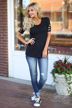 Closet Candy Boutique - cute trendy cutout sleeve top, spring and summer style, front
