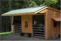 small horse barns, modular barns, loafing shed, run in sheds, diy pole barns Horse Shed, Horse Barn Plans, Horse Stalls, Diy Pole Barn, Pole Barns, Small Horse Barns, Loafing Shed, Horse Shelter, Run In Shed