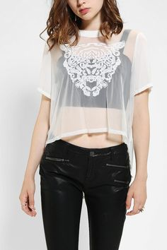 Silence & Noise Embroidered Graphic Top