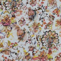 Italian Orange Floral Cotton Voile