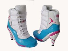 women jordan heel boots | Women Jordan 11 High Heel Boots White Blue - $86.99 : Cheap Fly Air ...
