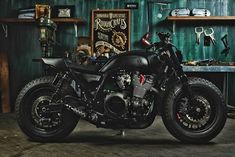 "kustomking: "" Guerilla Four XJR 1300 The front end was beefed up with a set of Yamaha VMAX forks, which are held in place by custom-made triple trees. The wheels also go for the brawn, with 16 x Bobber Custom, Custom Cafe Racer, Cafe Racer Bikes, Cafe Racer Motorcycle, Cafe Racers, Custom Bikes, Women Motorcycle, Motorcycle Quotes, Motorcycle Helmets"