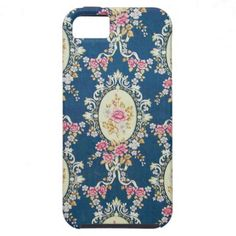 Vintage Girly Navy Blue Pink White Floral Pattern iPhone 5 Cover
