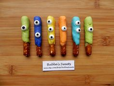 MONSTER Mini Pretzels - (12) Monsters/MONSTER Birthday/Monster Party/MONSTER Favors