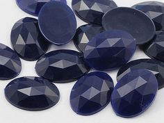 25x18mm Dark Blue Navy .NVY Flat Back Oval Loose Acrylic Jewels High Quality Pro Grade - 20 Pieces