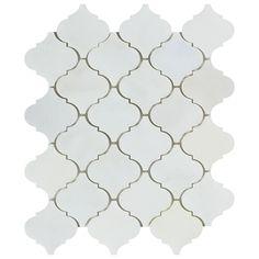 Polished Oriental White Marble Lantern Arabesque Mosaic Tile Eastern White