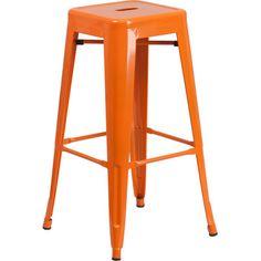 "Trent Austin Design Barchetta 30"" Bar Stool Finish: Glossy Orange"