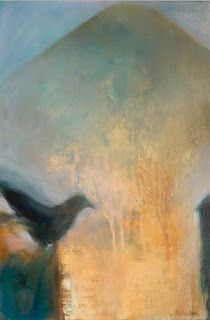 "Contemporary Abstract Painting,Bird Art Gold Leaf ""Before Trees"" by Intuitive Artist Joan Fullerton"