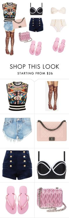 """""""Untitled #67"""" by safirahnoor-1 ❤ liked on Polyvore featuring Givenchy, OneTeaspoon, Chanel, Pierre Balmain, Cactus, Havaianas, Miu Miu and Lisa Marie Fernandez"""