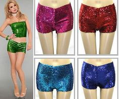 NEW SEXY LADY METALLIC WIDE FULL Sequins Clubwear Party Stretch Shorts Hot Pants