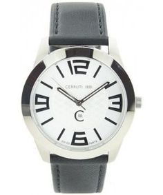 CERRUTI1881 Black Leather Strap Black Leather, Watches, Wristwatches, Clocks