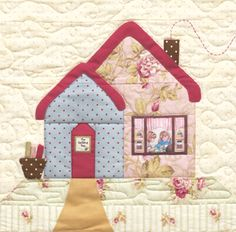 Cottage Charm Block 2 Kit: **Please note, this kit is for Block 2 only.** Block 2 of Cottage Charm - The Quilting Bee. Block finishes to x Kit includes pattern and all top fabrics. Buttons and printed window pieces are not included. House Quilt Patterns, House Quilt Block, Quilt Block Patterns, Applique Patterns, Applique Quilts, Pattern Blocks, Quilt Blocks, Quilting Projects, Quilting Designs