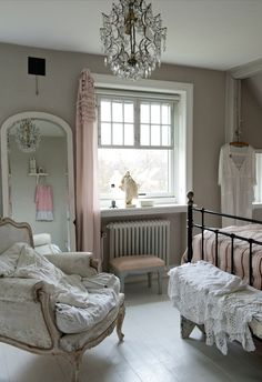 Bedroom shabby chic French country rustic Swedish decor idea. ***  Repinned from Janet Griffin ***.