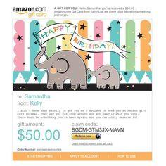 Amazon Gift Card - E-mail - Happy Birthday Elephants: http://www.amazon.com/Amazon-Gift-Card-Birthday-Elephants/dp/B004LLIL32/?tag=dn020-20