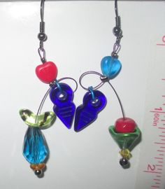 Anna, dangles, turquoise, red, blue, green, purple,mobiles, unmatched steampunk, fun, colorful and contemporary by Lindatwist on Etsy