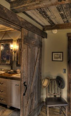 nice HOME DECOR – RUSTIC STYLE – love the barn door between the bedroom and bathr...