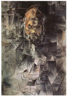 Picasso: High Analytic Cubism (1909-1911). Based on traditional subjects. Traditional elements dissected to allow viewer to see subject from multiple perspectives. Limited palette and avoidance of recession into space.