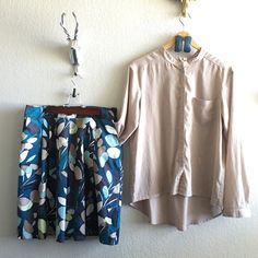 3-Piece OUTFIT  Skirt/Top & Earrings Just add Shoes!!! Top: Frenchi (M) super lightweight button up cream/tan. High low and front pocket. Beautiful top. Excellent condition.Skirt: Ann Taylor (8p) Blues, teals and cream floral skirt. Fan like fit. Top is pleated and had pockets. Double lined. Medium weight, beautiful! So fun and girly. Excellent condition. Earrings: Blue wood, lightweight with tan tint. Excellent condition. Selling as outfit Ann Taylor & Frenchi Skirts