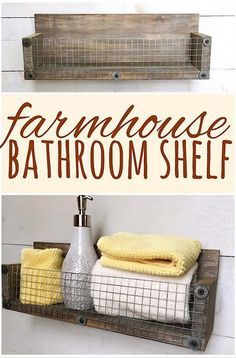 Pallets Shelves This basket shelf works great for rustic bathroom storage! Country Kitchen Shelves, Rustic Bathroom Shelves, Diy Bathroom, Chic Bathrooms, Bathroom Furniture, Rustic Furniture, Bathroom Ideas, Bathroom Wall Baskets, Small Bathrooms