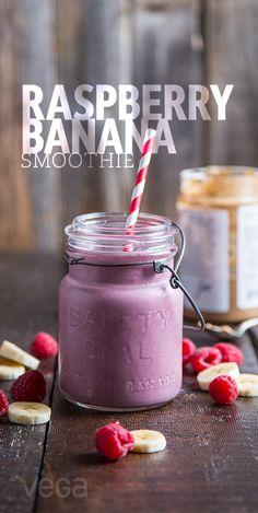 Raspberry Banana Smoothie  Ingredients 1 serving Protein Vanilla  1 frozen banana 1-2 Tbsp cashew butter ½ cup raspberries 1 ½ cups almond milk cinnamon, optional Preparation Add all ingredients to blender. Blend until smooth. Enjoy!