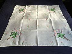 Gorgeous Vintage Hand Embroidered Medium Square Cream Irish Linen Tablecloth VGC | eBay
