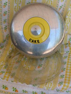 Vintage 50s Spun Aluminum Kromex Yellow Cake Safe Carrier Keeper with Original Glass Plate on Etsy, $35.00