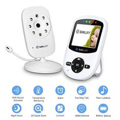 £24.99 (60% Off) on LootHoot.com - SUNLUXY 2.4 Inch Wireless Video Baby Monitor with Camera IR Night View Temperature Music VOX Mode Temperature Monitoring