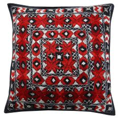 Handmade Embroidered Pillow Case 40cm Home Décor Throw Red & Black Cushion Cover 16""