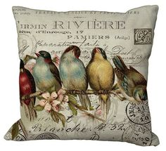 Birds in a Row on invoice or or or Inch Pillow Cover via Etsy Custom Printed Fabric, Printing On Fabric, Canvas Fabric, Cotton Canvas, Fabric Painting, Fabric Envelope, Decoupage, Pillow Forms, Do It Yourself Home