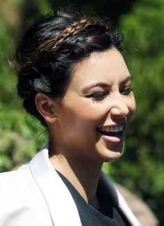 Kim Kardashian Braided Updo - Kim Kardashian was all smiles in this lovely braided updo at church.