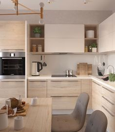 simple and modern style kitchen design for small kitchen decorating ideas or kitchen remodel Kitchen Room Design, Kitchen Cabinet Design, Modern Kitchen Design, Home Decor Kitchen, Interior Design Kitchen, Home Kitchens, Interior Livingroom, Kitchen Furniture, Modern Kitchen Cabinets