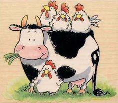 From the Folks 2002 - Penny Black Penny Black Karten, Penny Black Cards, Penny Black Stamps, Cute Drawings, Animal Drawings, Christmas Tree Art, Chicken Art, Cow Art, Tree Illustration