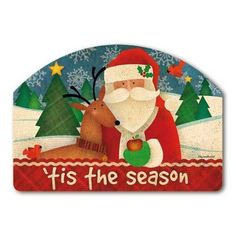 "Tis the Season Yard Sign by MagnetWorks. $15.95. Magnetic yard sign measures 14"" x 10"".. Address plaques snap into place onto our Yard Stake.. Vinyl coated for long lasting beauty.. Or display as hanging address sign using our Ornamental Address Post.. TIS THE SEASON From Magnet Works Yard DeSigns®Use this interchangeable 14 in. x 10 in. screen-printed magnet with our Metal Yard DeSigns Ornamental Post or Yard Stake (each sold separately). Two sets of easy-to-apply sel..."