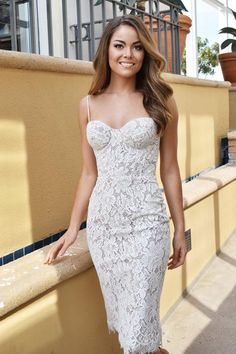 The Charlotte Midi in White/Nude. Lined with stretch compression mesh. The model pictured is wearing a size small White Bustier, White Strapless Dress, White Midi Dress, Lace Dress, Cocktail Dresses With Sleeves, V Neck Cocktail Dress, White Cocktail Dress, Shower Dress For Bride, Shower Dresses