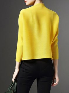 Yellow H-line Ribbed Turtleneck Long Sleeve Cropped Jacket