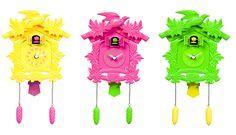 Orologio da parete Cuckoo Pop  Giallo - Fucsia - Verde  by Kare Design
