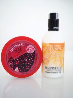 OSTOLAKOSSA: Happiness is... Esittelyssä Happiness is -merkin herkullisen tuoksuiset vartalotuotteet. Hand Lotion, Pomegranate, Shampoo, Bottle, Body Butter, Granada, Flask, Pomegranates