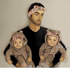 Papa of twins 😇 Mother Daughter Art, Mother Art, Girly Dp, Sarra Art, Cute Babies Photography, Twin Baby Girls, Family Drawing, Bff Drawings, Cute Couple Art