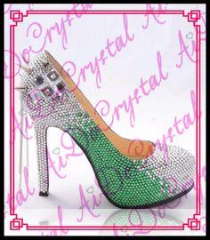 Aidocrystal weiß und grün kristall oberen silber nieten runde kappe luxus schöne 14 cm high heel schuhe //Price: $US $188.00 & FREE Shipping //     #dazzup