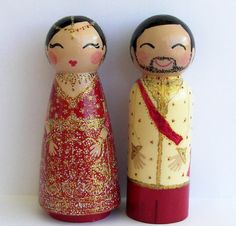 Hand Painted Love Boxes Custom Indian / South Asian Cake Toppers by handpaintedloveboxes,