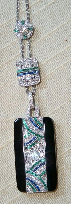 Art Deco Black Onyx, Sapphires, Emerald and Diamond Pendant, signed Tiffany & Co. Art Deco Jewelry, Pendant Jewelry, Jewelry Box, Fine Jewelry, Jewelry Design, Jewlery, Edwardian Jewelry, Antique Jewelry, Vintage Jewelry