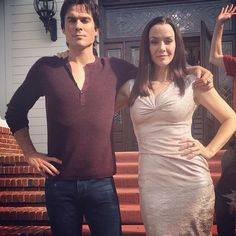 Ian with Annie on the TVD set