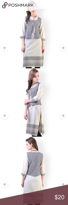 Cream-Coloured Printed Khadi Kurta with Waistcoat It's new never used size fits to xxl Dresses Long Sleeve