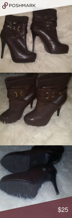 Charlotte russe boots Beautiful dark brown boots has gold accents, the heel is about 5 inches just stunning only worn once Charlotte Russe Shoes