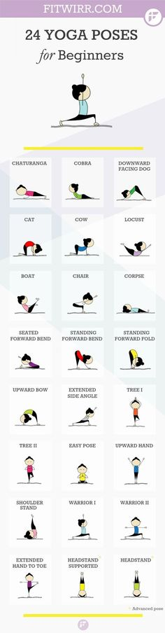 24 Yoga poses for beginners. Namaste :-). #yoga #meditation #health: