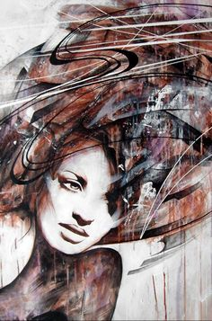Soulful contemplation - Abstract Portrait Paintings by Danny O'Connor  <3 <3