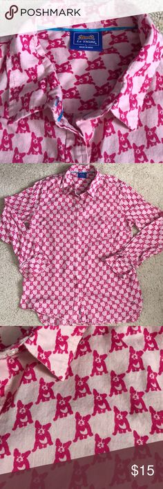 Let Tigre pink button down shirt Super cute button down long sleeve pink shirt with puppy pattern! Material is soft flannel. Super comfortable! Tops Button Down Shirts
