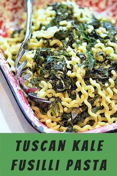 Tuscan kale pasta is a vegetarian meal that won't dissapoint! The kale is mixed in tender chessy pasta fusilli noodles that are belly filling! #eaypasta #pastarecipe Healthy Meals For Kids, Good Healthy Recipes, Quick Easy Meals, Kids Meals, Healthy Snacks, Vegetarian Recipes, Healthy Life, My Favorite Food, Favorite Recipes