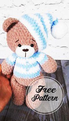 Crochet Pattern Free, Crochet Teddy Bear Pattern, Crochet Patterns Amigurumi, Amigurumi Doll, Crochet Dolls, Amigurumi Free, Crochet Teddy Bears, Teddy Bear Patterns, Doll Patterns Free